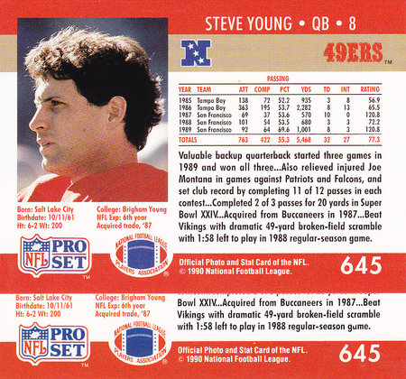 1990 ProSet Steve Young