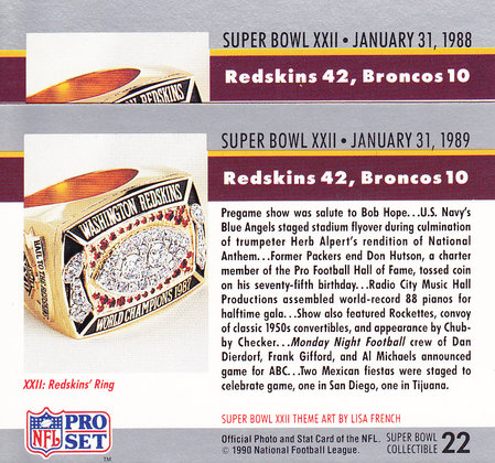 1990 ProSet Super Bowl 22